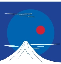Mountain fuji at night japanese landscape vector