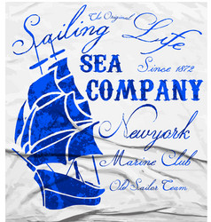 Old ship marine club watercolor tee graphic design vector