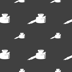 pen and ink icon sign Seamless pattern on a gray vector image