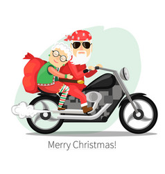 Santa claus and mrs riding on a steep motorcycle vector