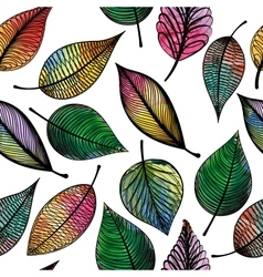 Seamless pattern with abstract colorful leaves vector image