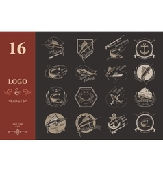 Set logos and badges spearfishing vector