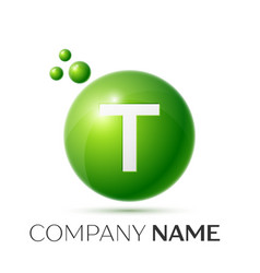 T letter splash green dots and bubbles number vector