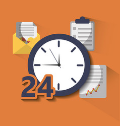 time clock service 24 help hour work vector image
