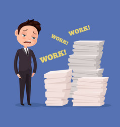 tired unhappy office worker man character vector image vector image