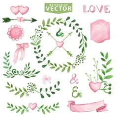 Watercolor wedding setbrancheslaurels wreath vector