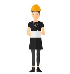 Woman holding tablet vector