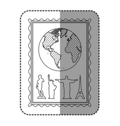 Monochrome frame with world map and set of the vector