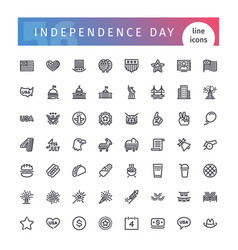 Usa independence day line icons set vector