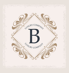 luxury company b monogram swirl decoration vector image