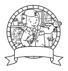 Funny engineer or inventor emblem vector