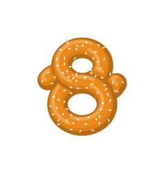Number 8 pretzel snack font eight symbol food vector