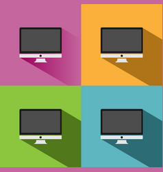 Computer icon with shade on colored backgrounds vector