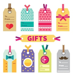 Gift set of labels and post card vector