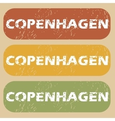 Vintage copenhagen stamp set vector