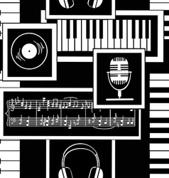 Seamless pattern of musical attributes vector image