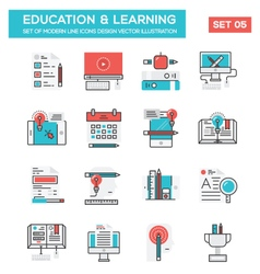 Modern flat line icon concept of education vector