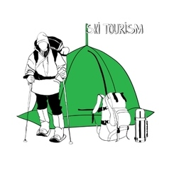 Skier with tent and thermos vector