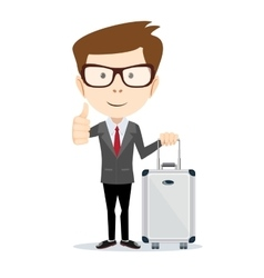 Traveling man with suitcase vector