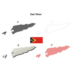 East timor outline map set vector