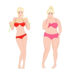Thin health and fat woman lifestyle infographic vector