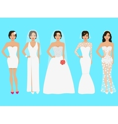 a set of wedding dresses vector image vector image
