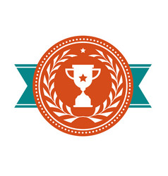 achievement badge - award medal with sport cup vector image vector image