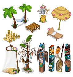 Ancient idols and tropical theme big set vector
