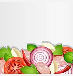 Background design with fresh vegetables vector