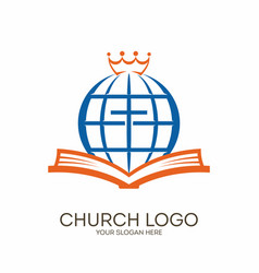 Bible cross globe and crown vector