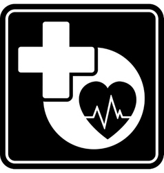 black health care icon with heart and medical vector image vector image