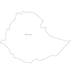 Black White Ethiopia Outline Map vector image vector image