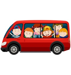 Children riding in red van vector image vector image