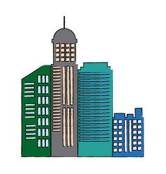 Cityscape skyline town architecture skyscrapers vector