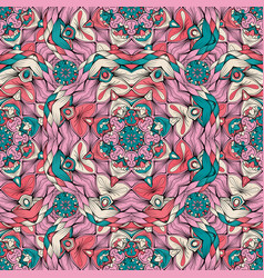 color pattern with ornament in mandala style vector image