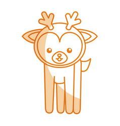 Cute shadow deer cartoon vector