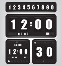 Digital retro clock and calendar vector image