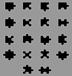 Diverse set of black silhouette puzzles vector image