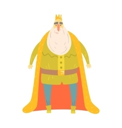 Fat gentle king with bushy white beard in red vector