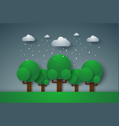 forest with rain paper art style vector image