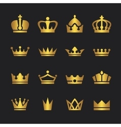 Golden crown icons set vector