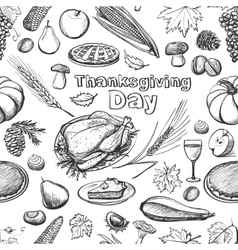 Hand drawn sketch Thanksgiving Day seamless vector image vector image