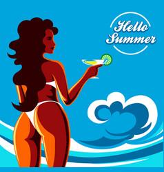 hello summer holidays emblem vector image vector image