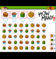 how many food objects cartoon game vector image