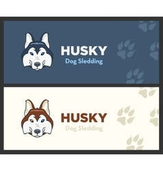 Husky head flat logo set Dog sledding vector image
