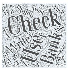 Identity theft stolen checks word cloud concept vector