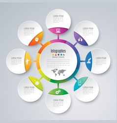 Infographics design with 8 options vector
