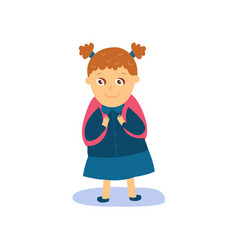 little girl with backpack dressed for school vector image vector image