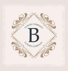 luxury company b monogram swirl decoration vector image vector image