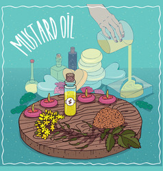 Mustard seed oil used for soap making vector